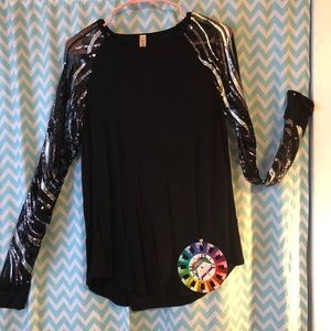First Look sheer sequined long sleeve shirt